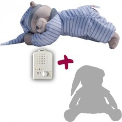 Medvedík Doodoo - sivo/biely  pásikový+ 1ks Plyšový