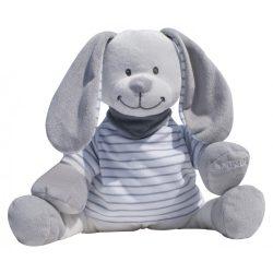 Plyšový zajačik Doodoo – sivo/biely  pásikový