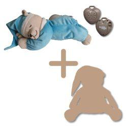 Doodoo szünetmentes audió + lámpás maci türkiz kék + tartalék plüss
